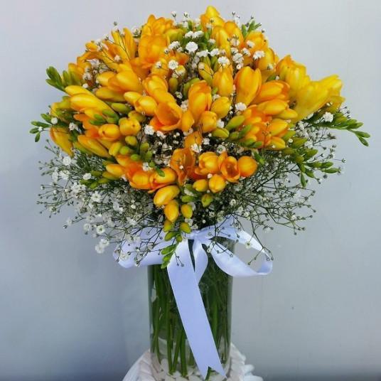 Cam Vazo da Kokulu Sarı Firezya (Freesia)