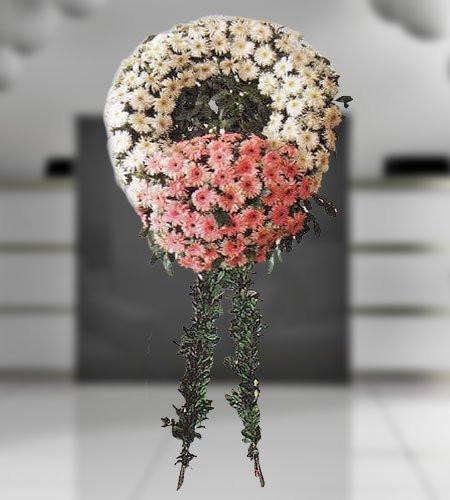 BEYAZ ve Pembe Gerbera Hazırlanan Cenaze Çiçeği