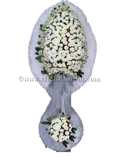 Ayaklı Sepet: Beyaz Karanfillerden Hazırlanmış Düğün, Nikah ve Açılış Sepeti
