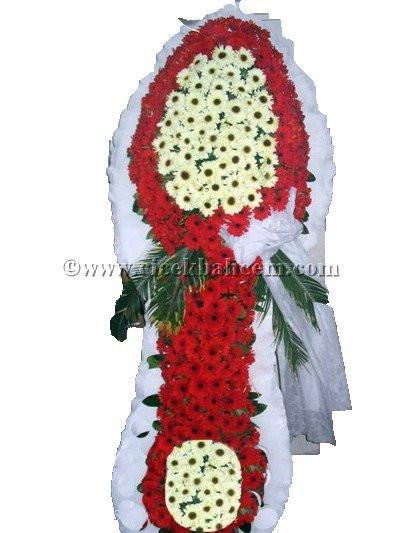 Ayaklı Sepet : Beyaz, Kırmızı Gerbera Çiçekleri İle Tasarlanmış Düğün, Nikah ve Açılış Sepeti