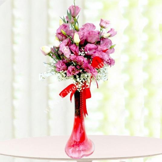 Aşk Yansıması | Fil Ayağı Pembe Lisyantus Çiçekleri | Çiçekbahcem.com - LİSY78551