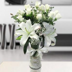 15 Adet Beyaz Gül, Kokulu Lilyum