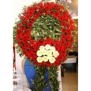 Kırmızı Beyaz Gerbera'dan Hazırlanmış Cenaze Çiçekleri