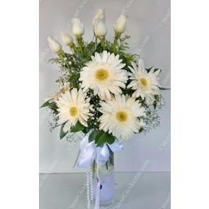 'Beyaz Duygular' Beyaz Gerbera 6 Gül Çiçek Aranjmanı