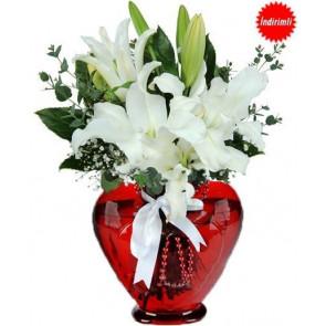 Kalp Vazoda Beyaz Lilyum