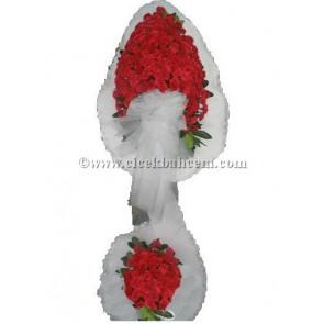 Ayaklı Sepet Beyaz Tüllü, Karanfil Tasarlanmı Düğün, Nikah ve Açılış Sepeti