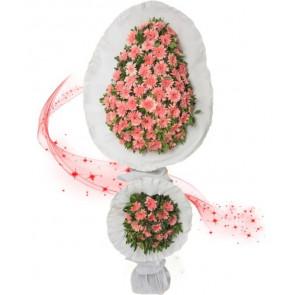 Pembe Gerbera Çiçekleri Ayaklı Sepet, Açılış Düğün Çiçekleri