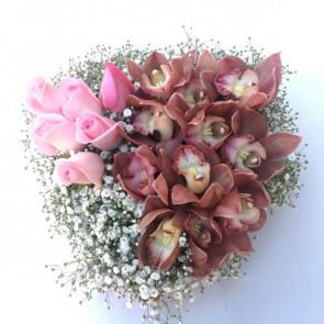 'Aşkların En Güzeline' Kalp Kutuda Orkide ve Gül